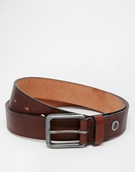 Esprit Leather Belt With Stripe Brown