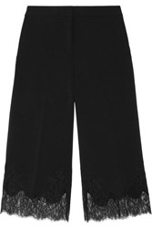 Michael Michael Kors Cropped Lace Trimmed Stretch Crepe Wide Leg Pants Black