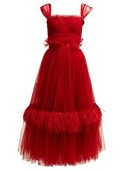 Dolce And Gabbana Ruffle Trimmed Tulle And Feather Gown Red