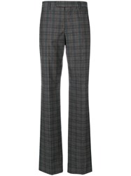 Maison Martin Margiela Check Straight Leg Trousers Women Cotton Wool 42 Grey