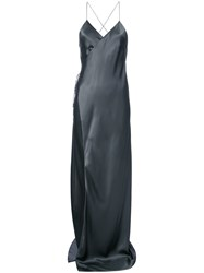 Michelle Mason Strappy Wrap Gown Grey
