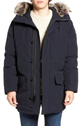 Michael Kors Men's Faux Fur Trim Down And Feather Fill Snorkel Parka Midnight
