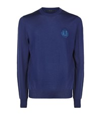 Billionaire Crested Crew Neck Sweater Male Blue