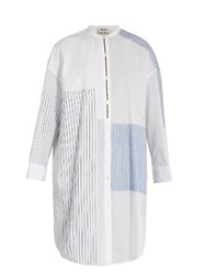 Acne Studios Elo Patchwork Cotton Shirtdress White Multi