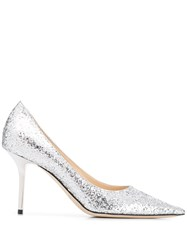 Jimmy Choo Glitter Stiletto Pumps Silver