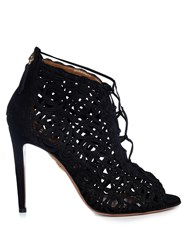 Aquazzura Kya Macram Lace And Suede Sandals Black