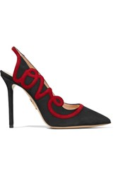 Charlotte Olympia Love Appliqued Suede Slingback Pumps Black