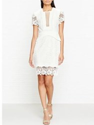 Three Floor White On Track Ruffle Trim Plunging Neckline Dress Off White