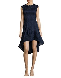 Betsy And Adam Floral Hi Lo Dress Navy
