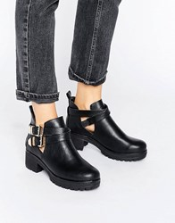 London Rebel Chunky Metal Trim Flat Boot Black Pu