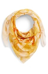 Nordstrom Print Silk Square Scarf Yellow Hazy Floral