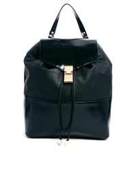Asos Zip Strap Backpack With Metal Fitting Black