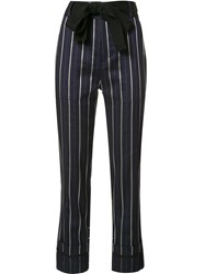 Derek Lam 10 Crosby Belted Striped Cropped Trousers Blue