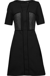 Raoul Shiraz Velvet Trimmed Paneled Twill And Brocade Mini Dress Black
