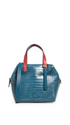 Frances Valentine Sabrina Double Handle Satchel Blue Red