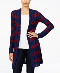 One Hart Juniors' Striped Open Front Cardigan Only At Macy's Blue Stripe