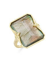 Ila Krista Labradorite Diamond And 14K Yellow Gold Ring