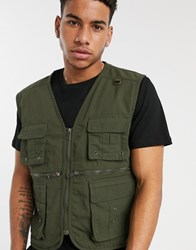 Soul Star Utility Gilet Jacket In Green