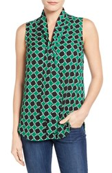 Women's Halogen Tie Neck Sleeveless Blouse Green Navy Starry Print