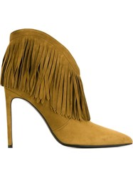 Saint Laurent Fringed Ankle Boots Nude And Neutrals