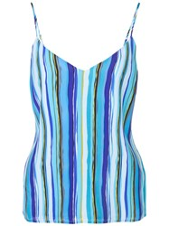 L'agence Striped Print Top Blue