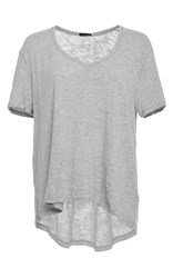 Atm Anthony Thomas Melillo Grey Short Sleeve V Neck Tee Silver