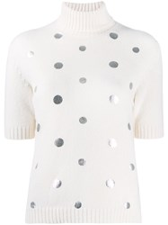 Piazza Sempione Metallic Polka Dot Knit Top White