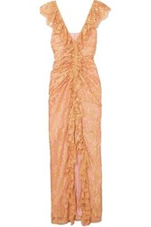 Alice Mccall Notion Ruffled Metallic Chantilly Lace Gown Pink
