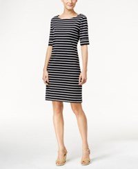 Karen Scott Petite Striped Elbow Sleeve Dress Only At Macy's Deep Black