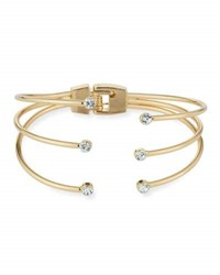 Panacea Triple Row Hinged Crystal Cuff Bracelet Gold