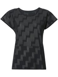 Issey Miyake Pleats Please By Stepped Pattern T Shirt Black