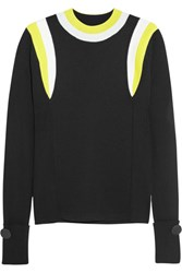 Marni Ribbed Color Block Wool Sweater Black