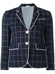 Thom Browne Checked Cropped Blazer Blue