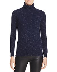 Bloomingdale's C By Cashmere Turtleneck Sweater Navy Donegal