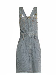 House Of Holland X Lee Striped Denim Dungaree Dress Blue