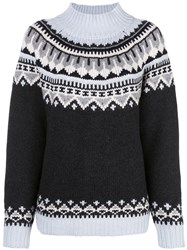 Autumn Cashmere Relaxed Fit Fair Isle Knit Jumper Grey