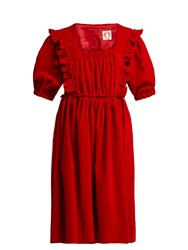 Shrimps Malacky Ruffle Cotton Corduroy Babydoll Dress Red