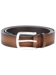 Orciani Crocodile Effect Belt Men Leather 90 Brown