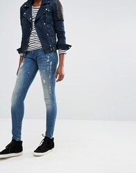 Only Coral Low Waist Paint Splash Skinny Jeans Dark Blue Denim
