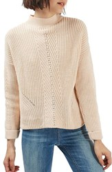 Topshop Women's Ribbed Sweater Peach