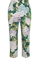 Dolce And Gabbana Stretch Cotton Twill Straight Leg Pants Green