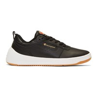 Champion Reverse Weave Black Leather Super C Court Classic Sneakers
