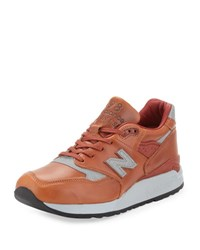 New Balance Men's 998 Age Of Exploration Bespoke Leather Sneaker Brown Silver Brown Silver