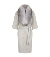 Lilly E Violetta 3 4 Sleeve Fox Fur Collar Coat Grey