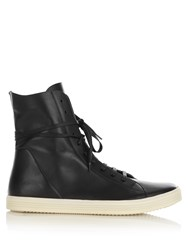 Rick Owens High Top Leather Trainers Black Multi