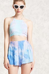 Forever 21 Pleated Tie Dye Shorts Blue Teal
