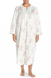 Carole Hochman Satin Long Nightgown Plus Size Cascading Floral Celladon