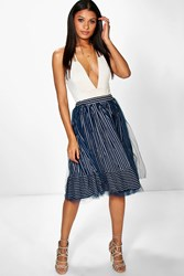 Boohoo Striped Tulle Overlay Full Skirt Navy