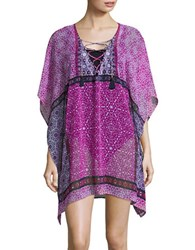 Tommy Bahama Geo Tiles Lace Up Tunic Pink