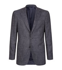 Gieves And Hawkes Wool Mix Birdseye Jacket Male Navy